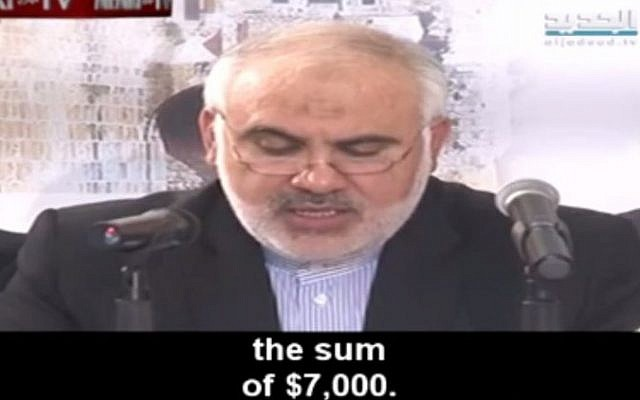 Iranian ambassador to Lebanon Mohammad FatahAli promises funds for Palestinian terrorists, February 24, 2016 (Memri screenshot)