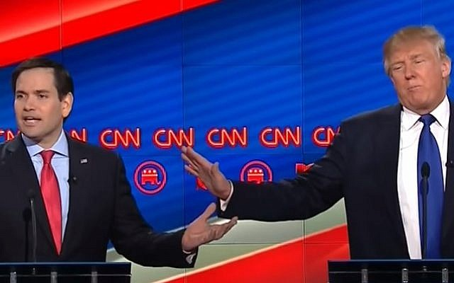 Republican presidential candidates Marco Rubio (L) and Donald Trump in a heated exchange over Israel during a CNN debate, February 25, 2016 (YouTube screen capture)