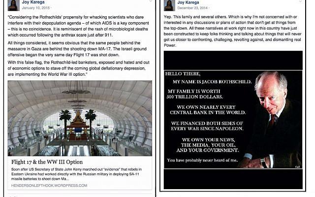 Screenshots of posts Oberlin professor Joy Karega made on her Facebook page. (Facebook via The Tower)