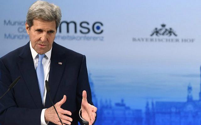 US Secretary of State John Kerry speaks during the second day of the 52nd Munich Security Conference (MSC) in Munich, southern Germany, on February 13, 2016. (CHRISTOF STACHE / AFP)