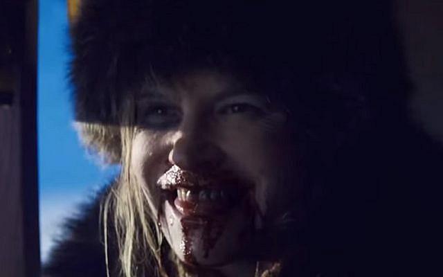 Jennifer Jason Leigh as Daisy Domergue in 'The Hateful Eight' (screen capture: YouTube)