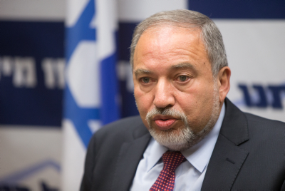 Yisrael Beytenu head Avigdor Lieberman leads a party meeting in the Knesset on February 8, 2016. Photo by Yonatan Sindel/Flash90