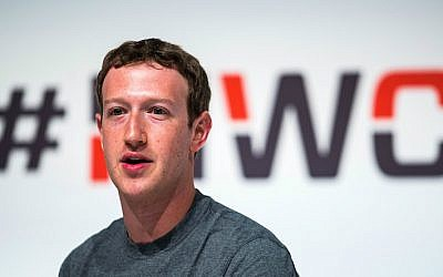 Mark Zuckerberg, the founder and CEO of Facebook, speaking at the Mobile World Congress in Barcelona, Spain, March 2, 2015. (David Ramos/Getty Images via JTA)
