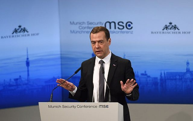 Russian Prime Minister Dmitry Medvedev speaks during a panel discussion at the second day of the 52nd Munich Security Conference (MSC) in Munich, southern Germany, on February 13, 2016. (AFP / Christof)