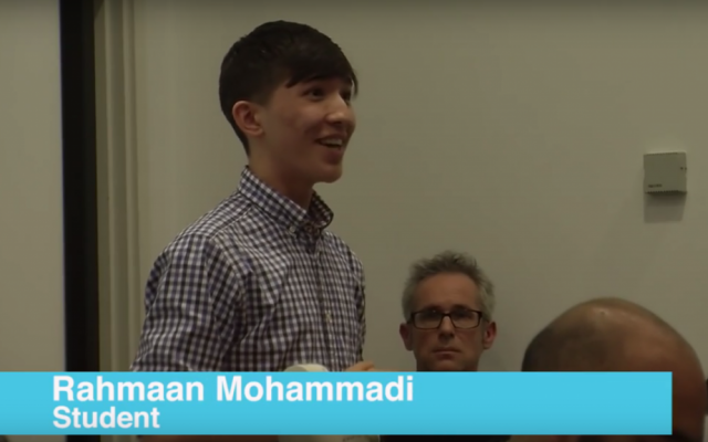 Rahmaan Mohammadi speaking at a meeting of Students Not Suspects at Goldsmiths University in London on February 8, 2016. (YouTube)
