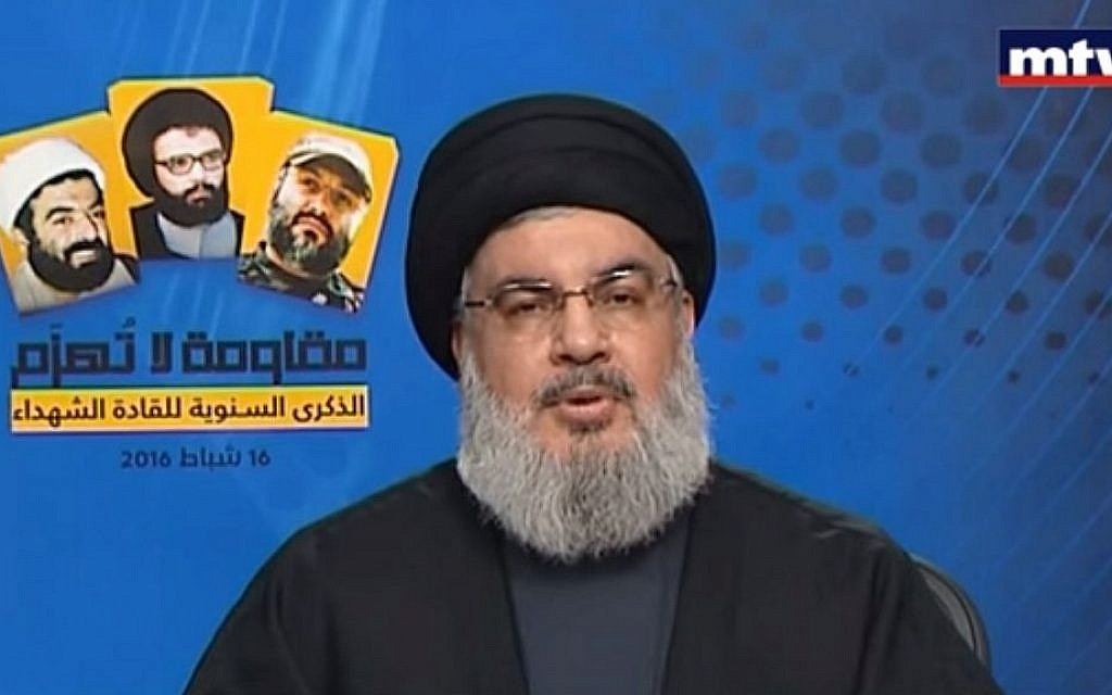 Hezbollah leader Hassan Nasrallah addresses Lebanese TV viewers in a speech broadcast Tuesday, February 17, 2016 (screen capture: YouTube)
