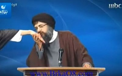 Screen capture from an MBC comedy sketch parodying Hezbollah leader Hassan Nasrallah. (YouTube/Mishel Zarifeh)