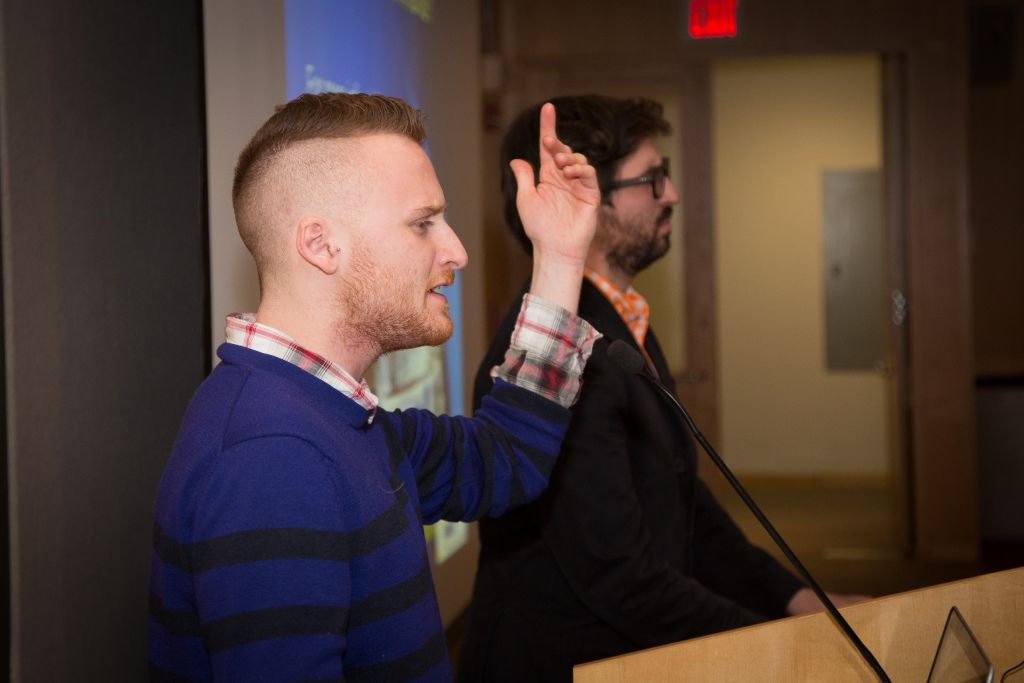 During a February 19, 2014 Israel advocacy conference at Boston's Northeastern University, Brett Loewenstern performed 'HaTikvah' (Elan Kawesch/The Times of Israel)