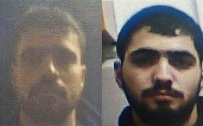 A photo composite showing Nasser, right, and Akram Badawi, who are believed to have carried out a number of shooting attacks against Israelis since November. (Shin Bet)