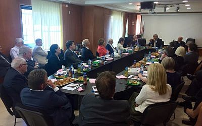 Members of the Conservative Friends of Israel delegation and the Peers Group of the All-Party Britain-Israel Parliamentary Group meet with PLO officials in Ramallah, February 17,  2016. (James Gurd)