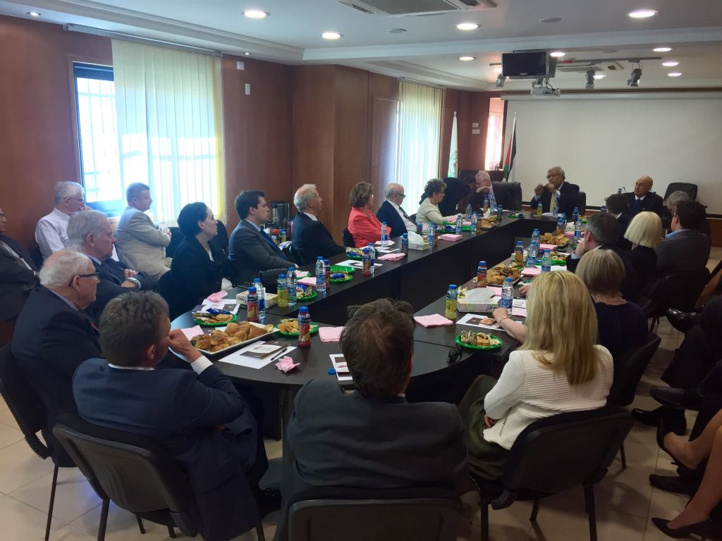 Illustrative: Members of the Conservative Friends of Israel delegation and the Peers Group of the All-Party Britain-Israel Parliamentary Group meet with PLO officials in Ramallah, February 17, 2016. (James Gurd)