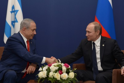 Israeli Prime Minister Benjamin Netanyahu meets with Russian President Vladimir Putin during the COP21 United Nations Climate Change Conference in Le Bourget, outside Paris, on November 30, 2015. Amos Ben Gershom/GPO.