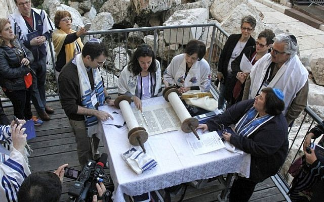 Reform female and male rabbis pray together at Robinson's Arch, the Western Wall site slated for future egalitarian services, on February 25, 2016. (Y.R/Reform Movement)