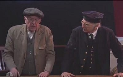 Democratic presidential hopeful Bernie Sanders (L) and comedian Larry David appear in a sketch on Saturday Night Live on February 6, 2016 (screen capture: YouTube)