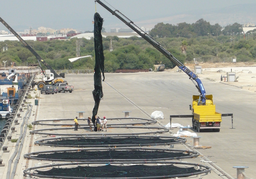 Subflex cages at Ashdod Port, ready for deployment (Courtesy)