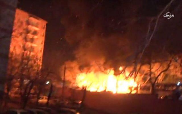 A fire breaks out following a large explosion in Ankara, Turkey, on February 17, 2016. (Screen capture: Twitter)