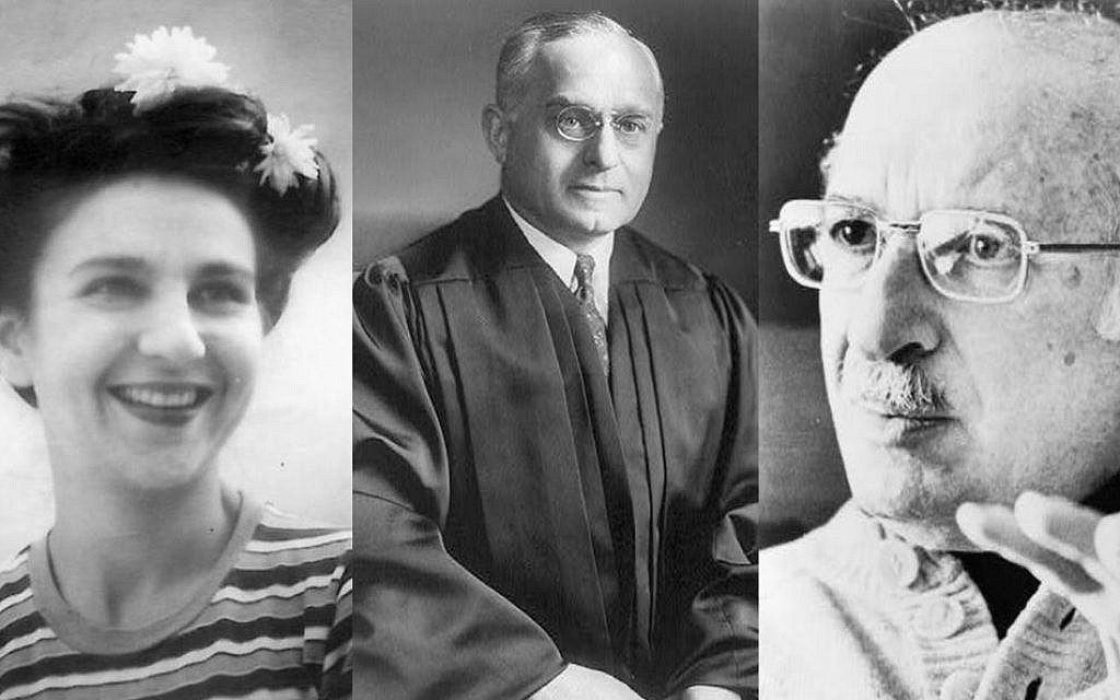 Three of the most famous Jews buried at Mount Auburn Cemetery in Cambridge, Massachusetts, were activist Erna Rosenberg (left), Supreme Court justice Felix Frankfurter (center), and author Bernard Malamud. (Wikimedia Common)