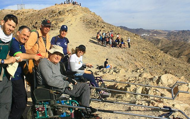 The Israeli startup Paratrek created an augmented wheelchair that allows people with paraplegia to go on hikes as a result of a Tikkun Olam Makers makethon. (Courtesy of Paratrek)