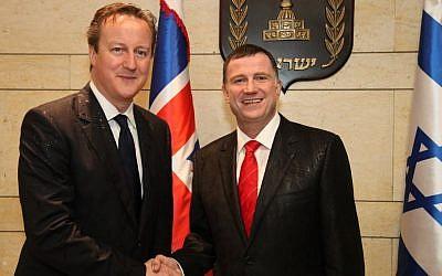 Knesset Speaker Yuli Edelstein and British Foreign Secretary Philip Hammond in Jerusalem in 2014.
