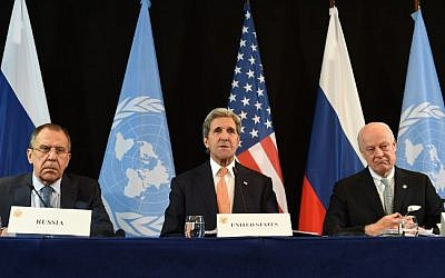 Illustrative: (L-R) Russian Foreign Minister Sergei Lavrov, US Secretary of States John Kerry and UN Special Envoy for Syria Staffan de Mistura follow a news conference after the International Syria Support Group (ISSG) meeting in Munich, southern Germany, on February 12, 2016. (AFP/Christof Stache)