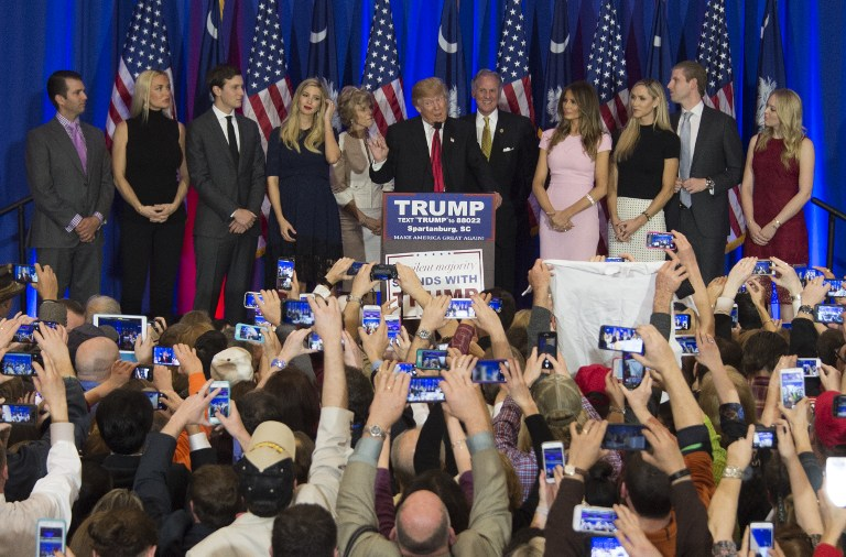 Donald Trump and his family celebrate victory in the South Carolina, February 20, 2016. (AFP/Jim Watson)