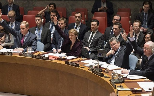 Members of the UN Security Council vote during a meeting on sanctions against North Korea on  March 2, 2016 at the United Nations in New York. (AFP/Don Emmert)