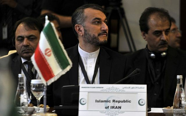 Iranian Deputy Foreign Minister Hossein Amir-Abdollahian attending an extraordinary meeting of the Organisation of Islamic Cooperation (OIC) to discuss the situation in Yemen, in the Saudi Red Sea city of Jeddah on June 16, 2016. (AFP)