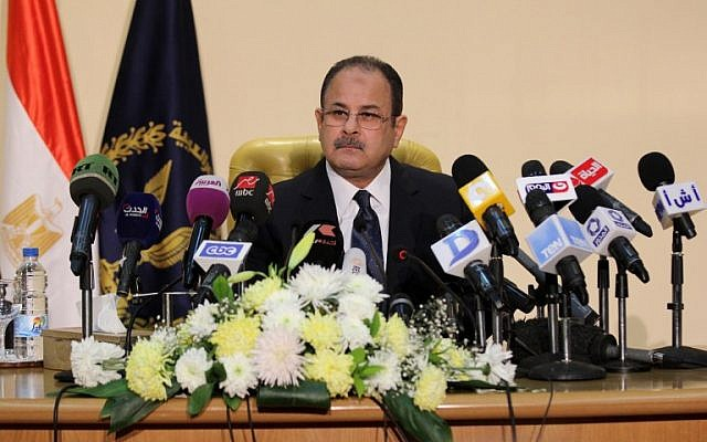 Egyptian Interior Minister Magdy Abdel Ghaffar speaks during a press conference in Cairo on March 6, 2016. (AFP)