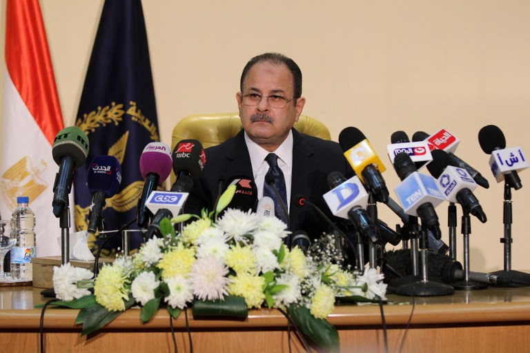 Egyptian Interior Minister Magdy Abdel Ghaffar speaks during a press conference in Cairo on March 6, 2016, accusing Hamas of involvement in the 2015 killing of the country's top prosecutor Hisham Barakat (AFP / STRINGER)