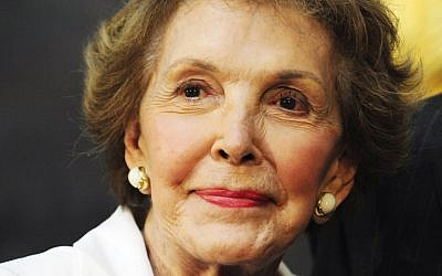 This file photo taken on June 2, 2009 shows former US First Lady Nancy Reagan at the unveiling of a statue of her husband, US President Ronald Reagan, in Washington, DC.  (AFP/KAREN BLEIER)