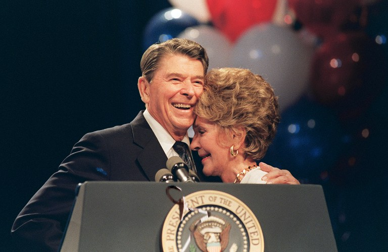 Former Us President Ronald Reagan And His Wife Nancy At A Luncheon In New