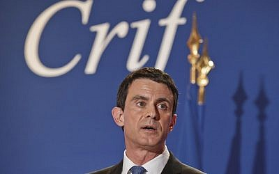 French Prime Minister Manuel Valls delivers a speech during the annual dinner of the Representative Council of France's Jewish Associations (CRIF) in Paris on March 7, 2016. (AFP / POOL / Michel Euler)