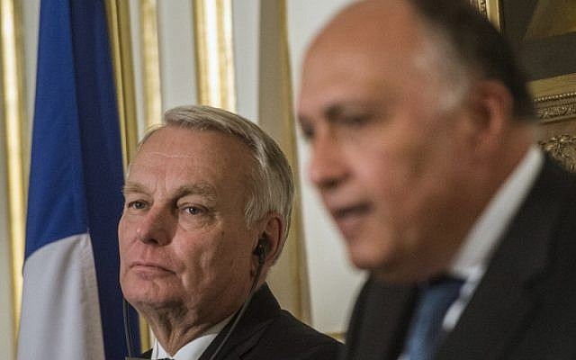 French Foreign minister Jean-Marc Ayrault during a press conference following a meeting with his Egyptian counterpart Sameh Shoukry in Cairo, March 9, 2016. (AFP/Khaled Desouki)