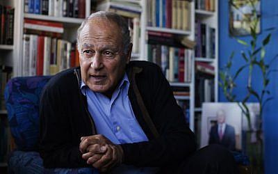 This file photo taken on February 3, 2013 shows former Egyptian foreign minister Ahmed Abul Gheit, expected to be elected as the new secretary general of the Arab League, answering journalists' questions during an interview at his home in Cairo. (AFP/GIANLUIGI GUERCIA)