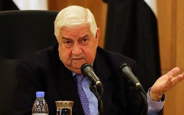 Syrian Foreign Minister Walid Muallem speaks during a press conference, Damascus, Syria, March 12, 2016. (AFP/Louai Behsara)