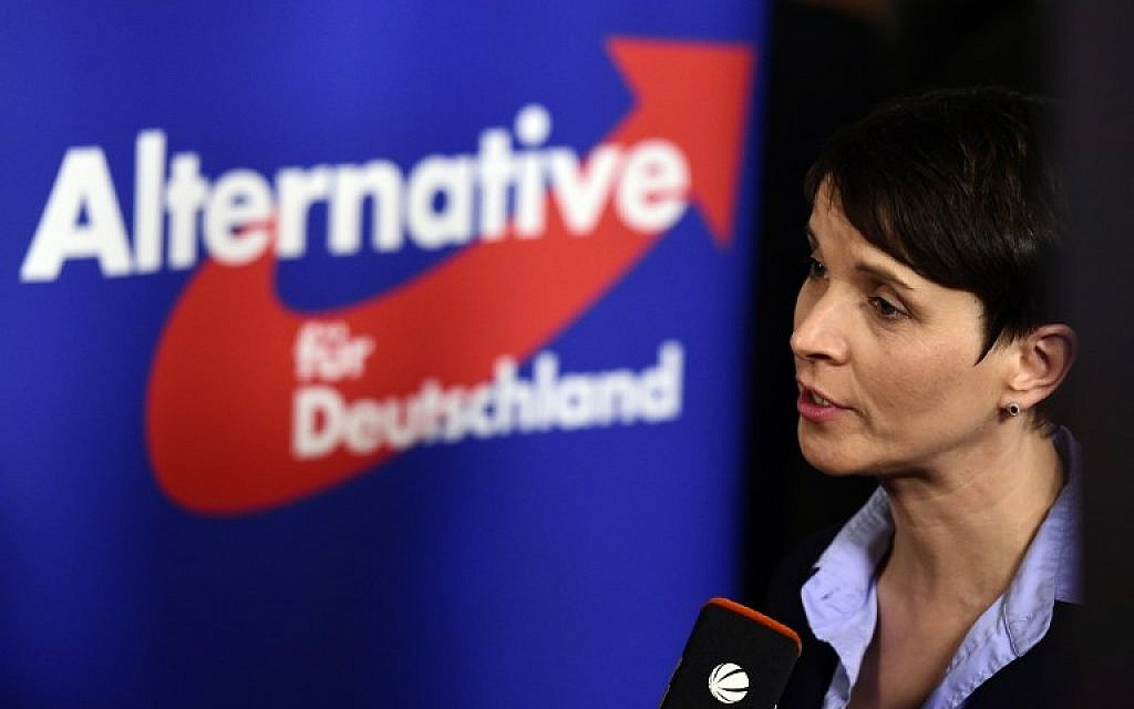 Frauke Petry, head of the right-wing populist party Alternative for Germany (AfD) party gives an interview after state elections exit poll results were announced on tv in Berlin on March 13, 2016. (AFP / John MACDOUGALL)