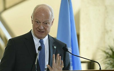 United Nations Syria envoy Staffan de Mistura speaks during a press conference in Geneva on March 14, 2016, on the first day of the second round of Syrian peace talks at UN headquarters in the Swiss city. (Philippe Desmazes/AFP)