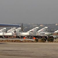 Russian fighter jets on the tarmac at the Russian Hmeimim military base in Latakia province, in the northwest of Syria, February 16, 2016. (AFP/STRINGER)