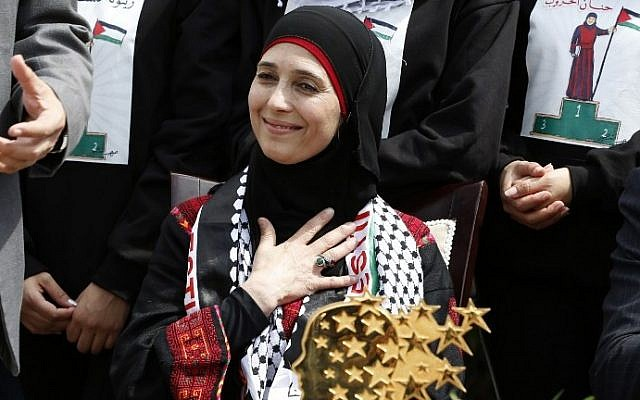 Hanan al-Hroub, a Palestinian teacher who won the $1 million Global Teacher award gestures during a public reception upon in the West Bank city of Jericho on March 16, 2016. (AFP / ABBAS MOMANI)