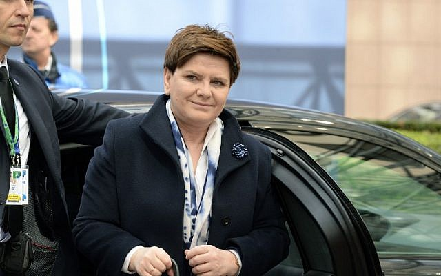 Polish Prime Minister Beata Szydlo arrives at a European Union Summit held at the EU Council building in Brussels, on March 18, 2016.  (AFP/Thierry Charlier)
