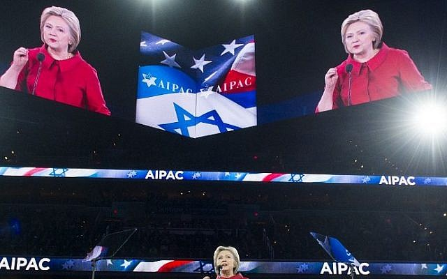 US Democratic presidential hopeful Hillary Clinton speaks during the American Israel Public Affairs Committee (AIPAC) 2016 Policy Conference at the Verizon Center in Washington, DC, March 21, 2016. (AFP/SAUL LOEB)