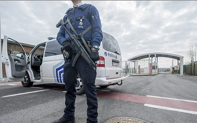 Illustrative. A police officer stands guard at the entrance of Brussels Airport, in Zaventem, on March 22, 2016, after at least 13 people have been killed by two explosions in the departure hall.   (AFP / Belga / FILIP DE SMET / Belgium OUT)