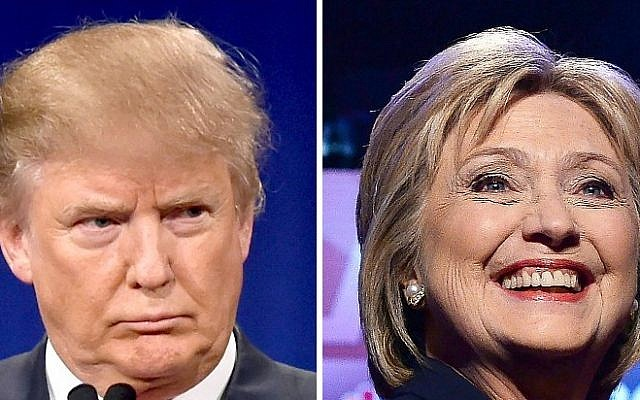 Republican presidential hopeful Donald Trump on January 14, 2016, and Democratic front-runner Hillary Clinton on February 4, 2016. (AFP/DSK)