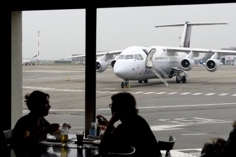 A plane of Brussels Airlines is seen on the tarmac of Ostende airport, on March 24, 2016, in Ostend, two days after a triple bomb attack, which responsibility was claimed by the Islamic State group, hit Brussels' airport and the Maelbeek - Maalbeek subway station, killing 31 people and wounding 300 others. (AFP / BELGA / DIRK WAEM)