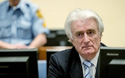 Bosnian Serb wartime leader Radovan Karadzic sits in the courtroom for the reading of his verdict at the International Criminal Tribunal for Former Yugoslavia (ICTY) in The Hague, on March 24, 2016. (AFP / POOL / Robin van Lonkhuijsen)