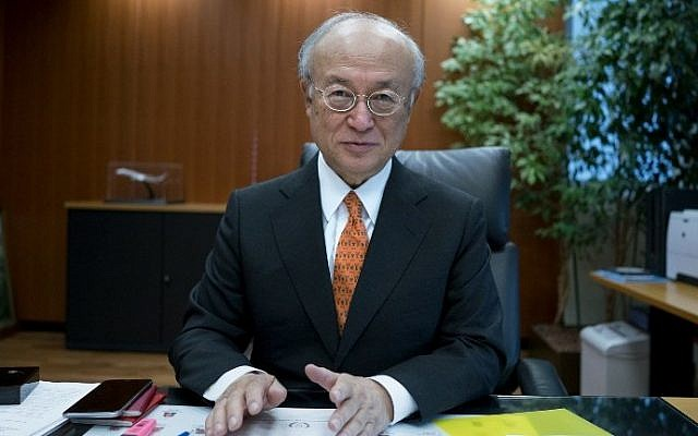 International Atomic Energy Agency (IAEA) chief Yukiya Amano poses for a photographer at the IAEA's headquarters in Vienna on March 24, 2016, ahead of a summit on nuclear security hosted by US President Barack Obama in Washington DC on March 30-31. (AFP / JOE KLAMAR)