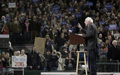 Democratic presidential candidate Bernie Sanders speaks during a rally at Safeco Field in Seattle on March 25, 2016. (AFP/Jason Redmond)
