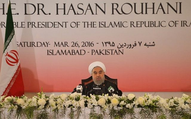 Iranian President Hassan Rouhani speaks during a news conference in Pakistan's capital Islamabad on March 26, 2016. (AFP/Aamir Qureshi)