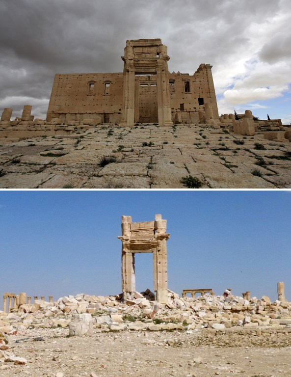 A combination of images shows a file photo (top) taken on March 14, 2014 of the iconic Temple of Bel prior to being blown up by Islamic State (IS) group jihadists in September 2015 and the remains of the temple after Syrian troops recaptured the ancient site of Palmyra from IS fighters on March 27, 2016. Archaeologists were rushing to the ancient city of Palmyra on March 28, 2016 to assess the damage wreaked by the Islamic State group, after it was ousted by the Syrian army in a bloody battle. / AFP / Joseph EID AND Maher AL MOUNES