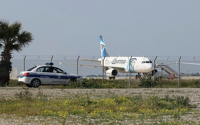 An Egypt Air Airbus sits on the tarmac of Larnaca airport after it was hijacked and diverted to Cyprus on March 29, 2016. (AFP/STR)